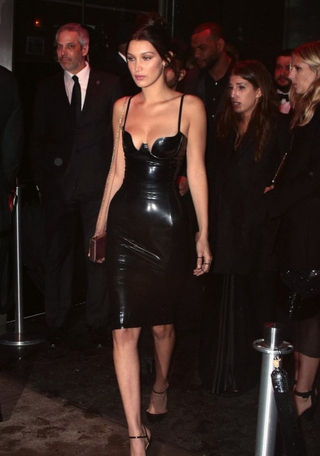 Splurge: Bella Hadid's 2016 Met Gala Afterparty Atsuko Kudo Black Latex Pencil Cup Dress