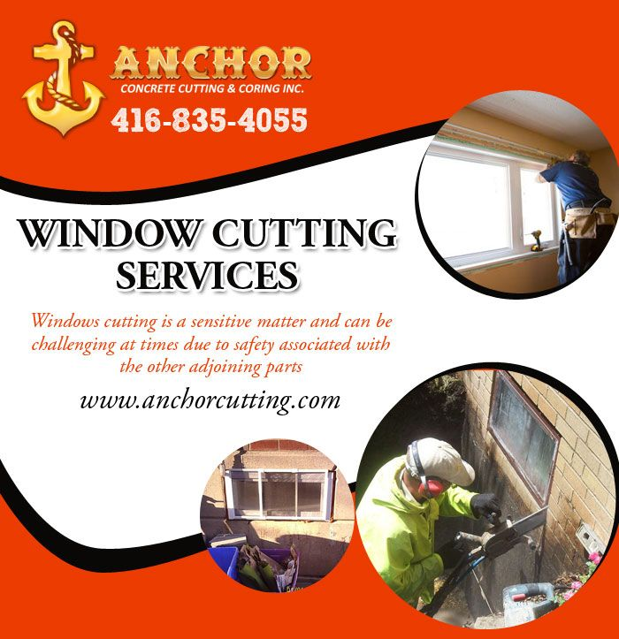Anchor Concrete Cutting have the personnel, experience and equipment to handle the toughest task of Window Cutting Services in Brampton.our esteemed clients offering an enormous range.  Website:-http://www.anchorcutting.com/window-cutting-services.html 7900 Hurontario Street L6Y 0C7 Brampton, Ontario
