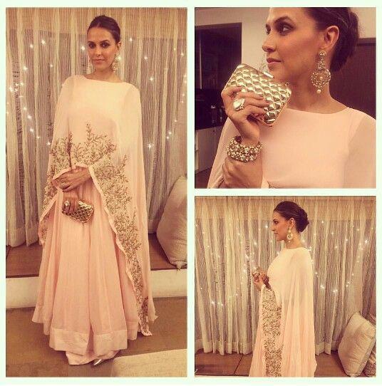 Neha Dhupia wearing Pratyusha Garimella outfit for Diwali Party