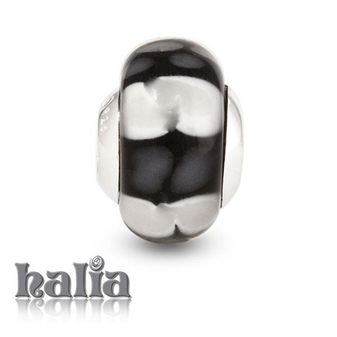 Midnight Rendezvous: Alternating black and white patches: murano glass bead on a sterling silver barrel: designed exclusively by Halia, this bead fits other popular bead-style charm bracelets as well. Sterling silver, hypo-allergenic and nickel free.    $36.00