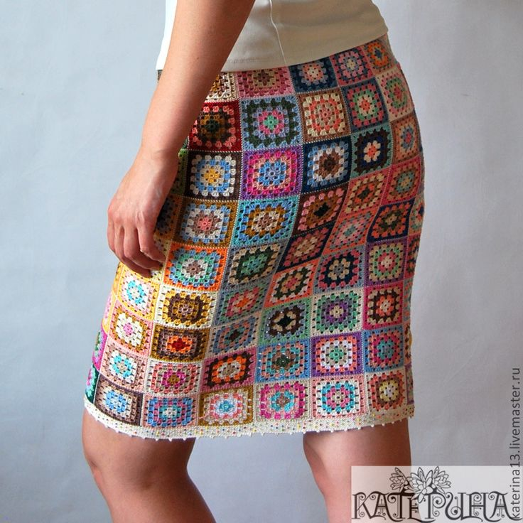 "Купить Юбка ""Клод Моне"" - яркая юбка, юбка крючком, узор бабушкин квадрат"