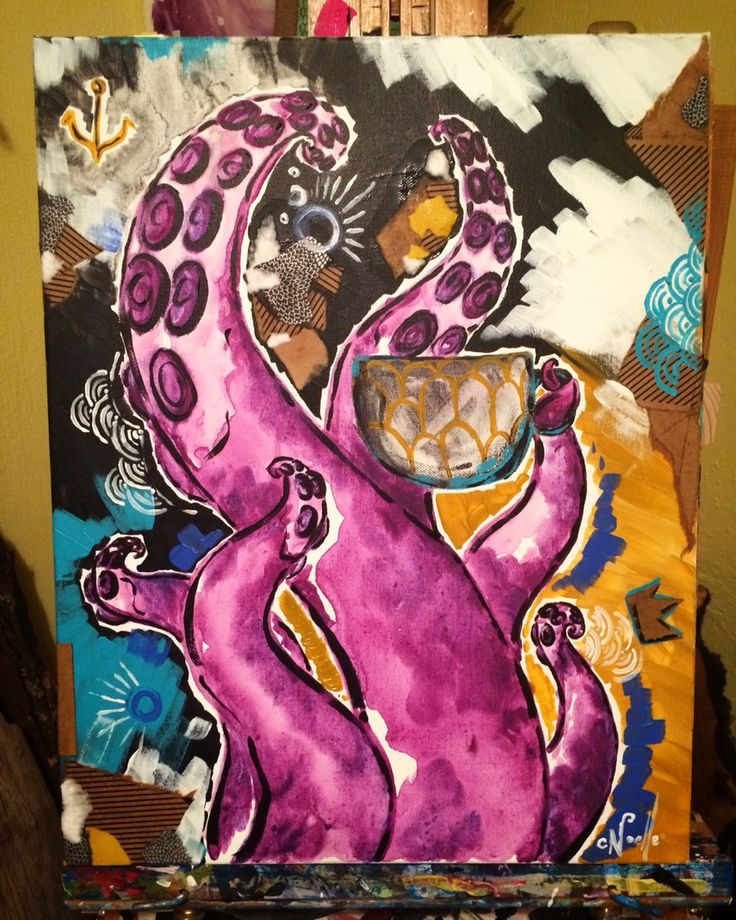 """Mixed media CUP~O~JOE on 14""""x18"""" gallery edged canvas🐙 for sale"""
