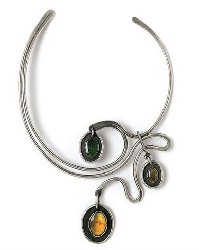 Art Smith {New Orleans Necklace, ca. 1962. Silver, three semi-precious stones}