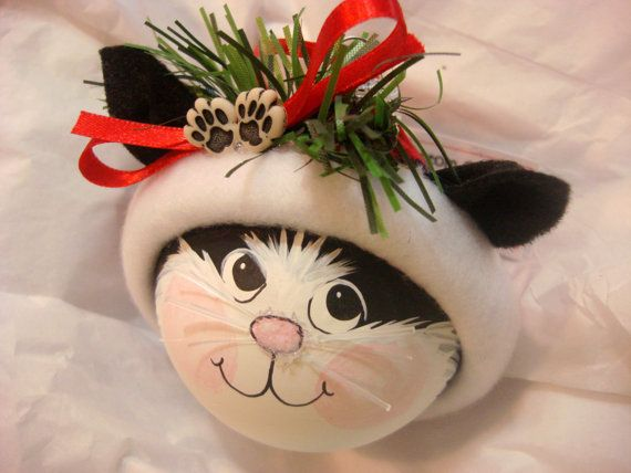 BLACK and WHITE CAT Ornament Paws Christmas by TownsendCustomGifts
