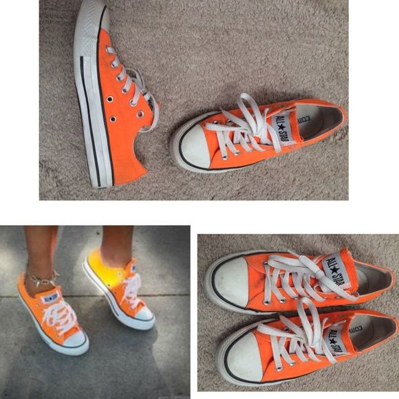 Bright Orange Converse Allstars Low Tops! Barely worn converse low tops in an awesome bright orange! There is minimal wear as seen in pictures. No trades, no PayPal  Converse Shoes Sneakers