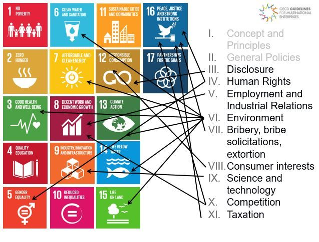 Chapters in the OECD guidelines harmonizing with the SDGs
