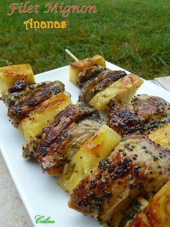 Brochettes de filet mignon de porc et ananas