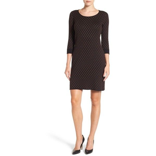 Women's Foxcroft Diamond Print Sweater Dress ($98) ❤ liked on Polyvore featuring dresses, chocolate, petite, white day dress, chocolate brown dress, diamond print dress, petite white dresses and foxcroft