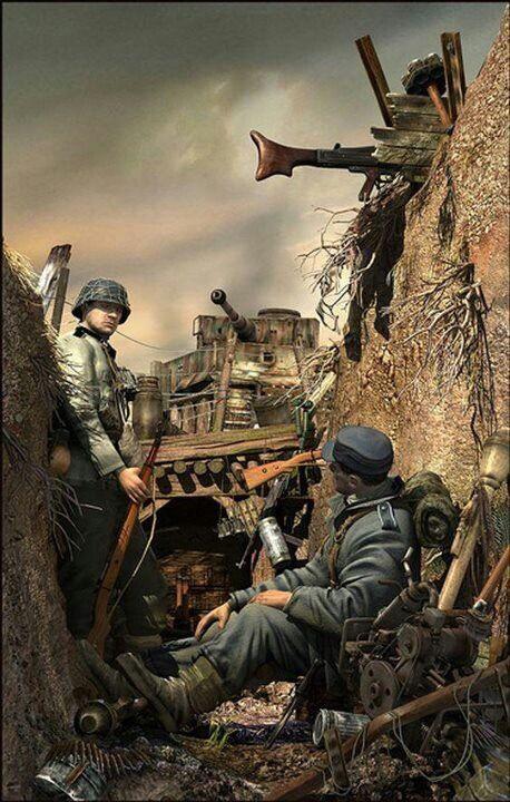 Germans in their Eastern Front trench. Солдаты мировых войн и военных конфликтов: