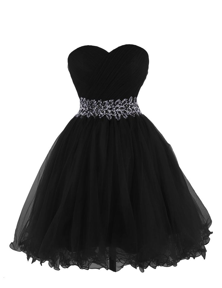 Tidetell 2015 Strapless Homecoming Beaded Short Prom Dress Ball Gown Black Size 2