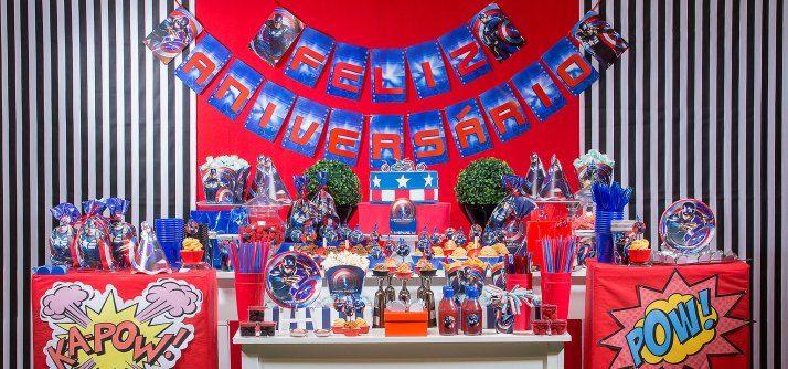 Decoração de festa tema Capitão América...Captain America Birthday Party Ideas...Avengers Party