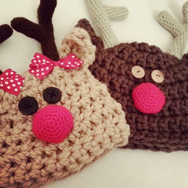 Gorro de Rudolf el Reno a Crochet | Ahuyama Crochet tutorial