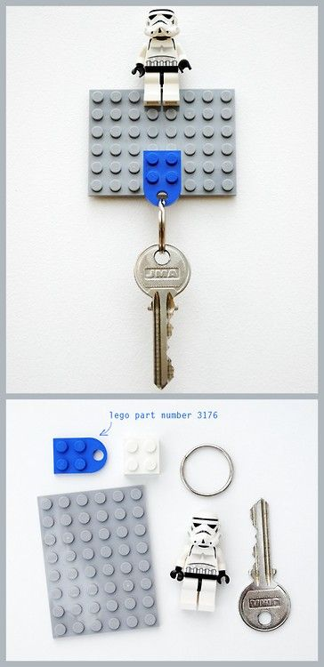 DIY Lego Key Holder. Tutorial from minieco here. *Father's day, manly gift idea?  Also, if you want to know where to get cheap LEGO go to my all time most popular post ever (40,000 notes): The Lego Heart Necklace here.