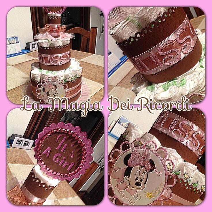 Minnie Diaper Cake!