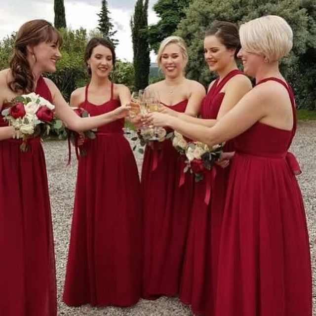 Hi Katherine! As promised here are my gorgeous maids in the Sorella Vita 'maid you way' dress in the red. Our Tuscany wedding was everything and more and the girls just blended in beautifully in their dresses.  It was an absolute pleasure purchasing our gowns from you, so thank you very, very much. Kindest Regards Becky   #bridesmaid dress #red #modern #romantic #tuscany #destination wedding Bridal party multiway dress #chiffon luxury #instyle #sydney #drummoyne