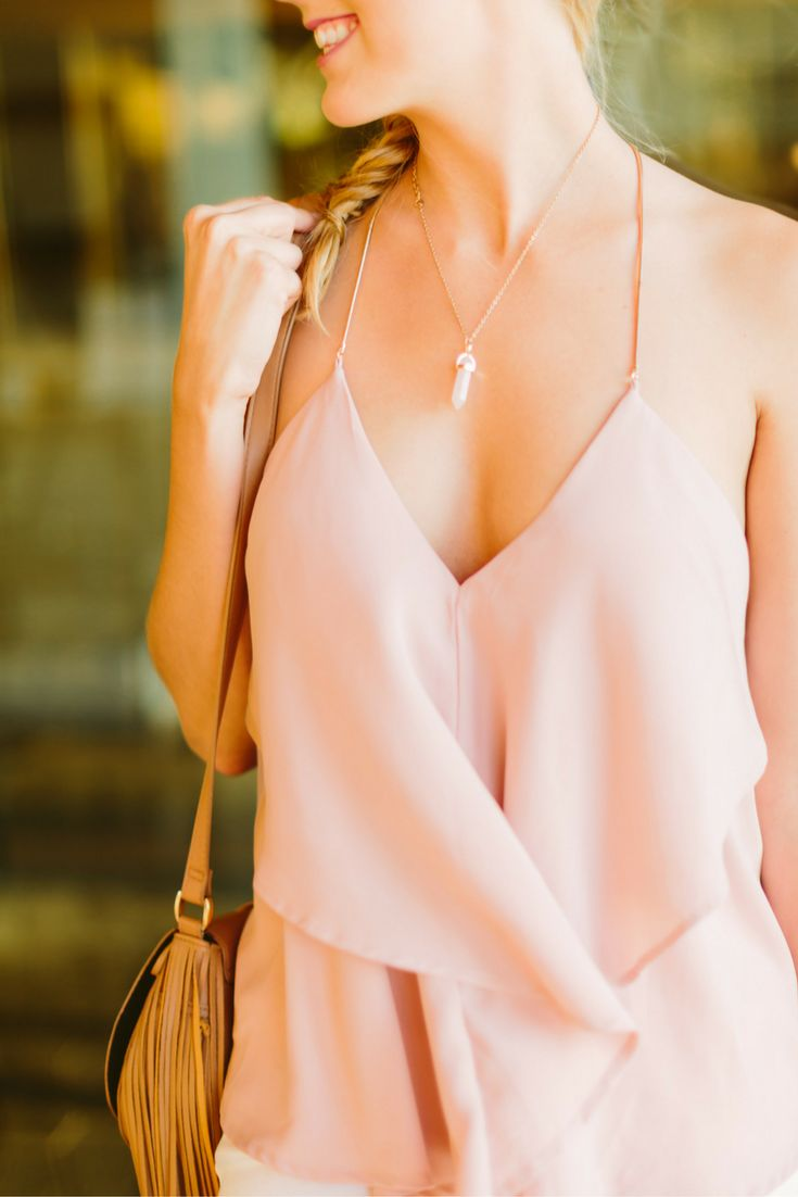 Love the cut of this blush top!
