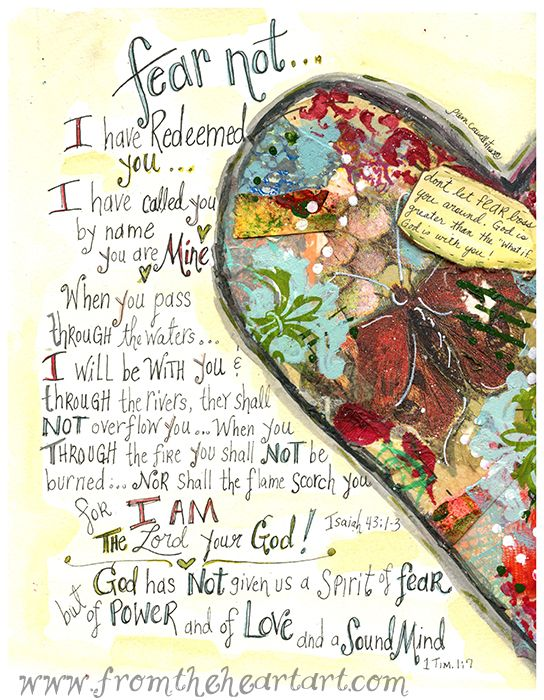 """Fear Not"" heart print Isaiah 43:1-3; 1 Timothy 1:7"