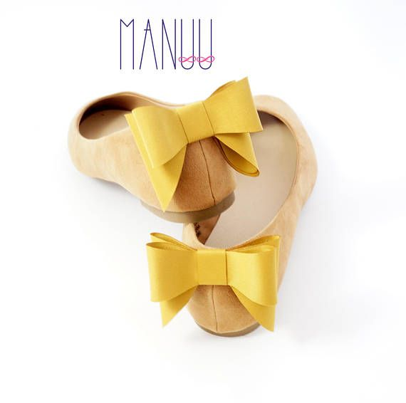 Mustard bows shoe clips Manuu bow shoe clips shoe bows