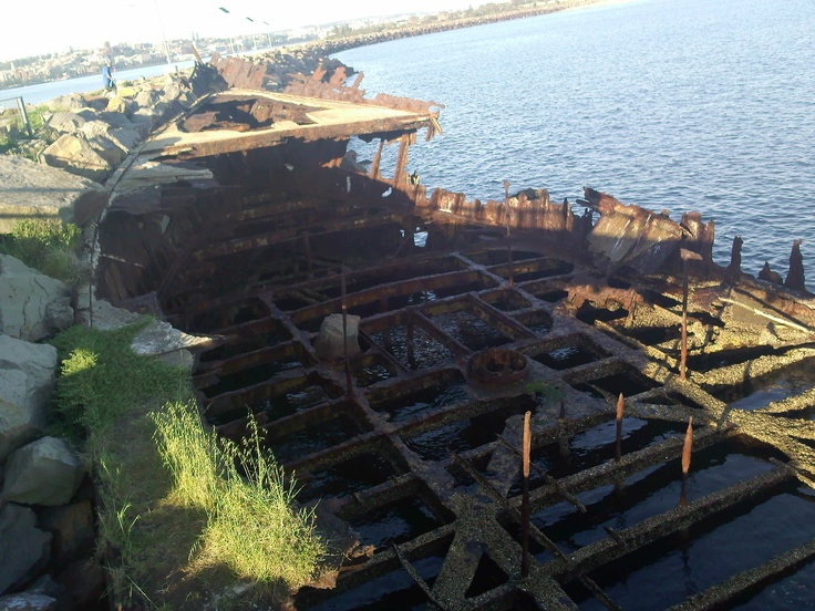 One of the wrecks which line the edge of Newcastle harbour.