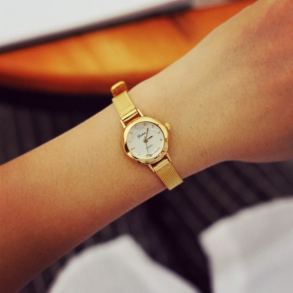 Fashion Quartz Watch Women Golden Gold Small Dial Bracelet Wristwatches Ladies Watches WW-09070 (Color: Gold) = 1956806980