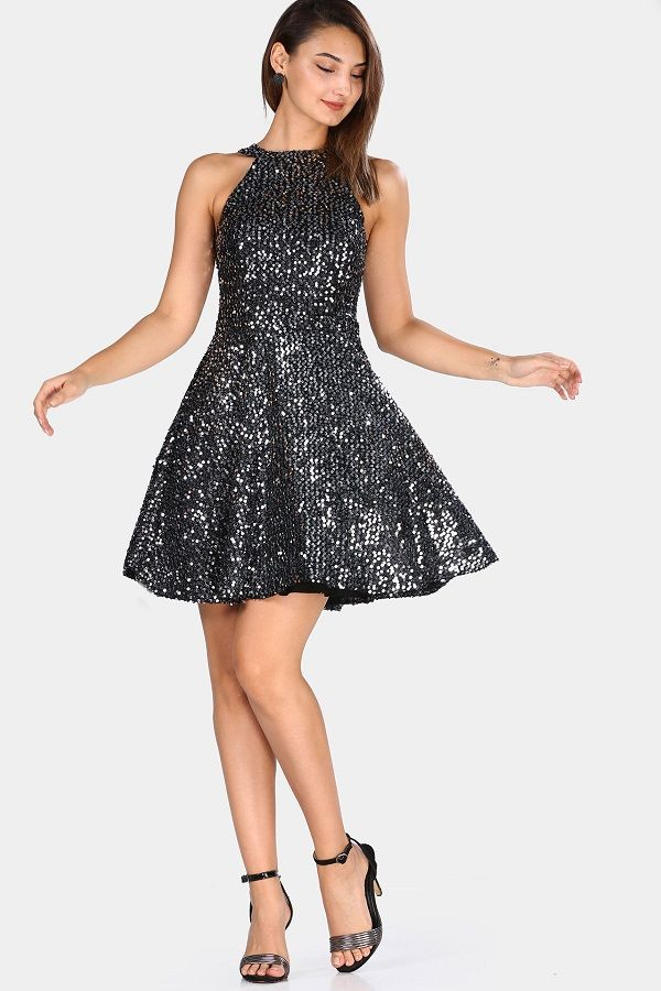 فستان سهرة قصير أسود بترتر فضي Elegant Dresses Dresses Fashion