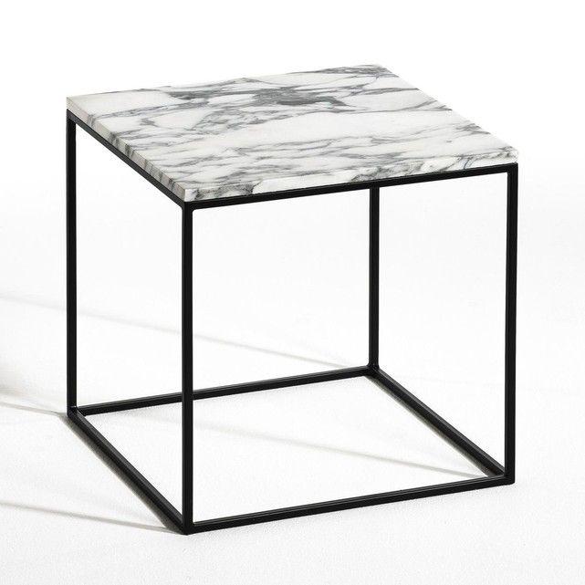 Bout de canapé métal noir et marbre, Mahaut