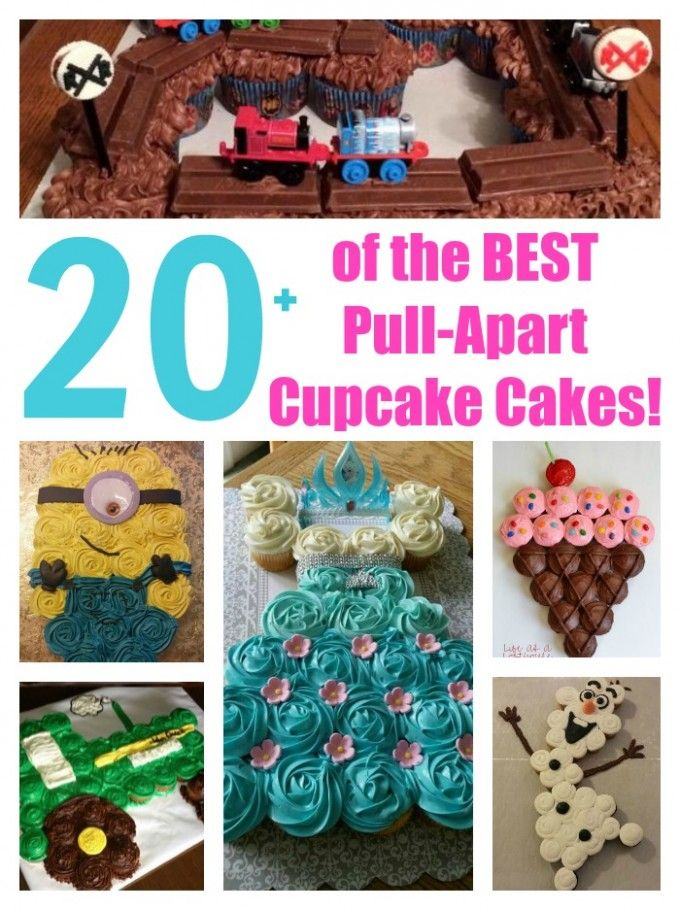 Over 20 of the BEST Pull-Apart Cupcake Cake Ideas from KitchenFunWithMy3Sons.com