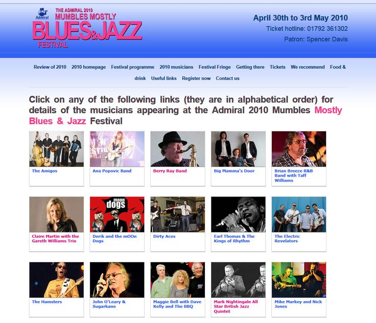 Website created for the annual Mumbles Blues & Jazz festival.