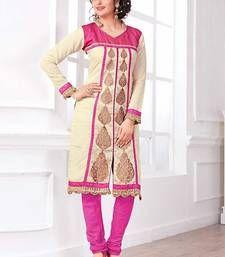 Buy cream silk embroidered unstitched kurti party-wear-kurti online