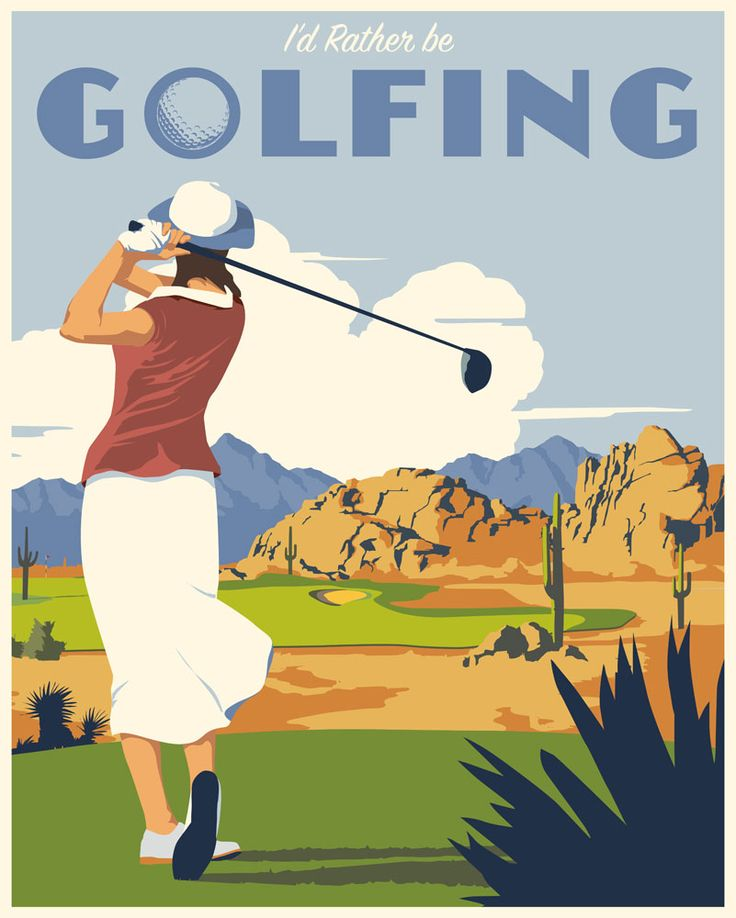 Vintage golfing. Prints available at www.stevethomasart.com.