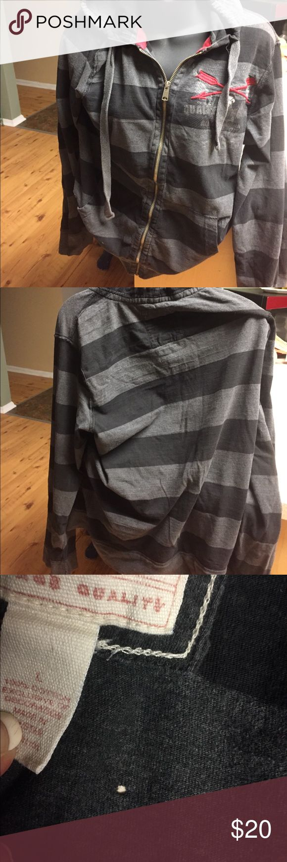 Red Camel men's hoodie Authentic Red  Camel hoodie size large has one tiny hole in back (see picture) black and gray striped Working Zipper good condition except fir one tiny hole 😕 Red Camel Other