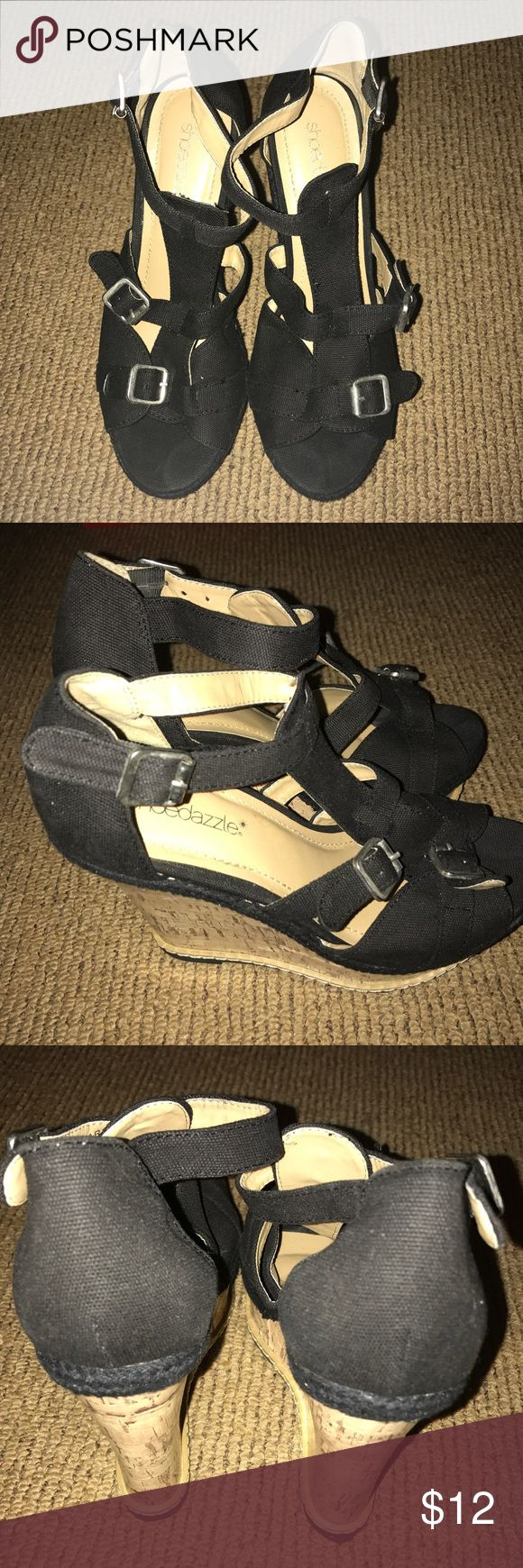 Shoe Dazzle Black Platform Sandal These sandals were worn once inside, so they are practically new. They do not come with a box or tag, but do come with the pink shoe dazzle duster bag. Shoe Dazzle Shoes Sandals