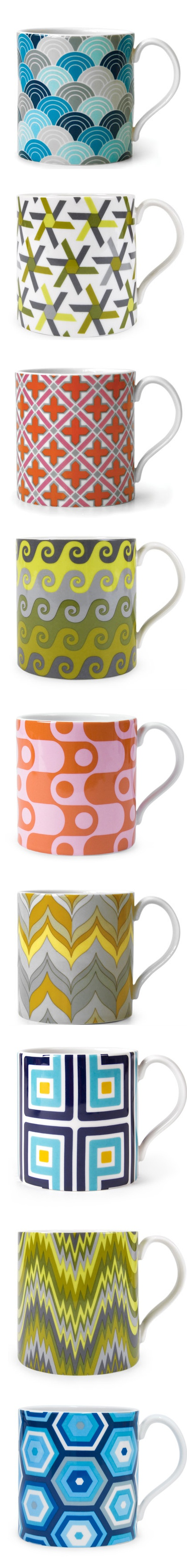 Carnaby Mugs | Jonathan Adler I scaled and applied colors for all these mugs
