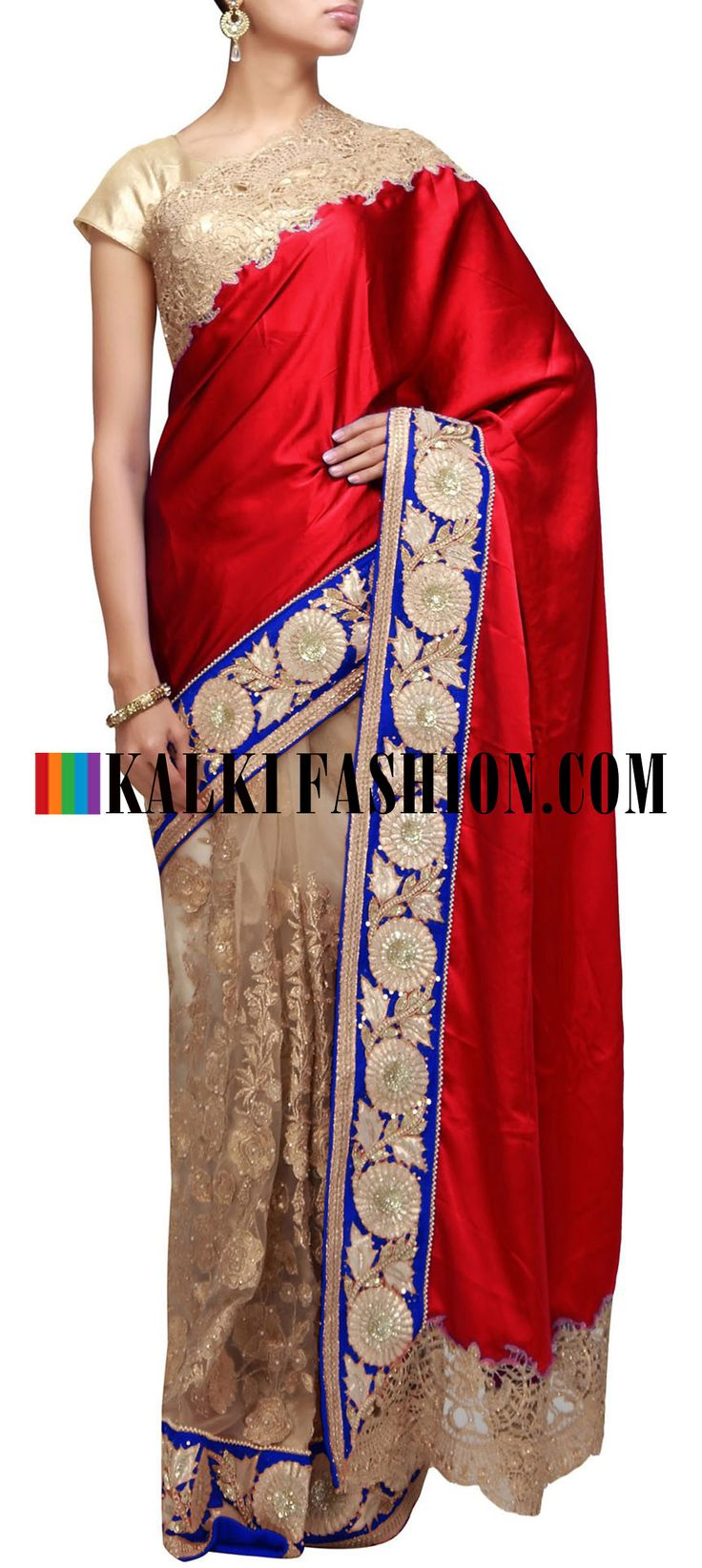 Get this beautiful golden outfit here: http://www.kalkifashion.com/half-and-half-saree-featuring-in-red-and-beige-highlighted-in-zari-cut-work-embroidery.html Free shipping worldwide. #50ShadesOfGold