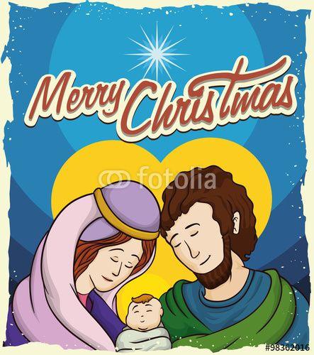 Holy Family Postcard, Vector Illustration