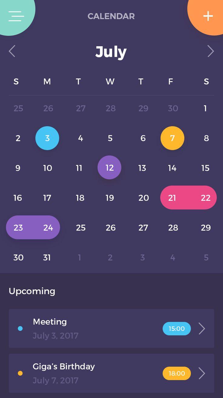 Calendar dark app calendar color event ios mobile ui