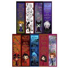 Disney Villains Chibi Bookmarks - Maleficent, The Evil Queen, Ursula, Cruella de Vil, Jafar, Gaston, Hades, Mother Gothel and Hans
