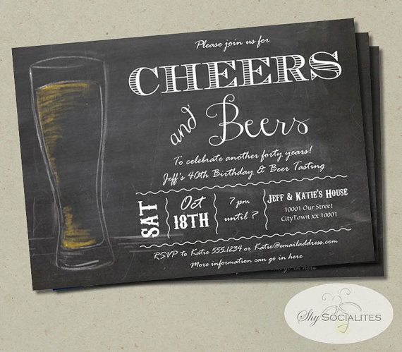 Cheers & Beers Chalkboard Invitation | Birthday, 50th, 40th, 30th, 21st, Beer Baby Shower, Beer Tasting, Beer Party, BBQ | INSTANT DOWNLOAD