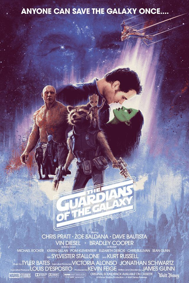 'Guardians Of The Galaxy Vol 2' by Matt Ferguson, inspired by the Roger Kastel 'The Empire Strikes Back' poster.
