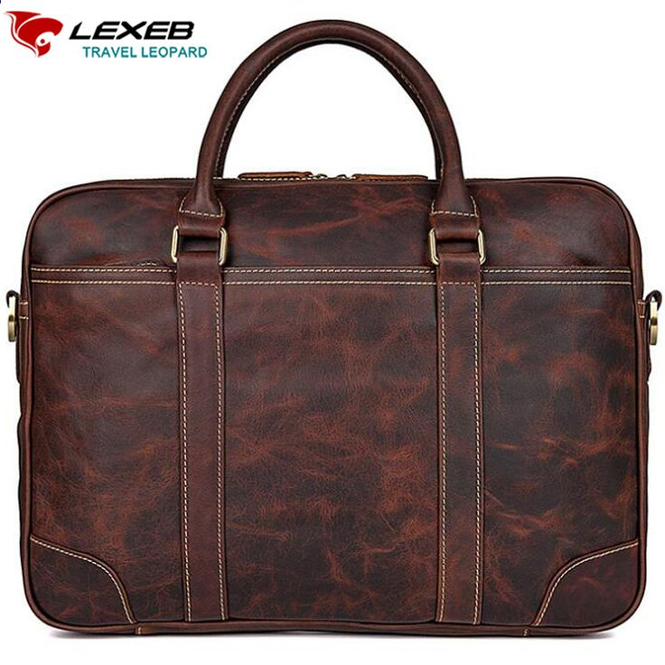 9e3db8832bc7 LEXEB Computer Bags For Men Full Grain Leather Briefcases Business 15  Inches Laptop Bag Slim Office