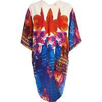White oversized flower print kimono