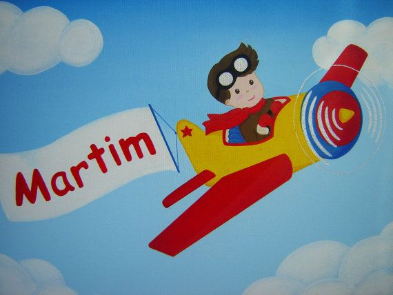 """Custom Acrylic Painting Personalized Name and Pilot Boy, 16""""x12""""."""