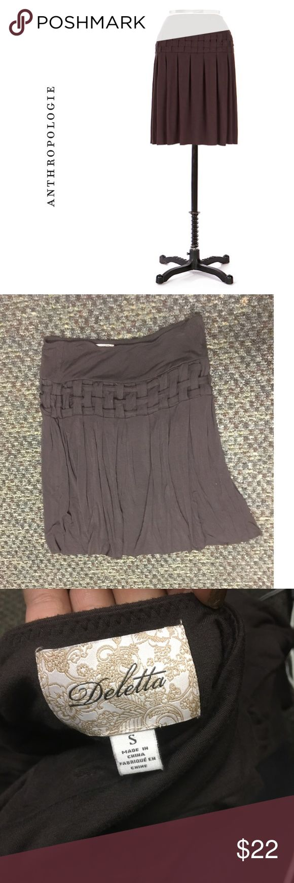 """Rare Anthropologie Basketweave skirt Jersey knit  skirt by Deletta with a woven  panel in the middle . Great condition . Size s but is super stretchy so will fit a 4-8 easily . Measurements- waist - 14.5"""" unstretched .  length - 21"""" Anthropologie Skirts"""