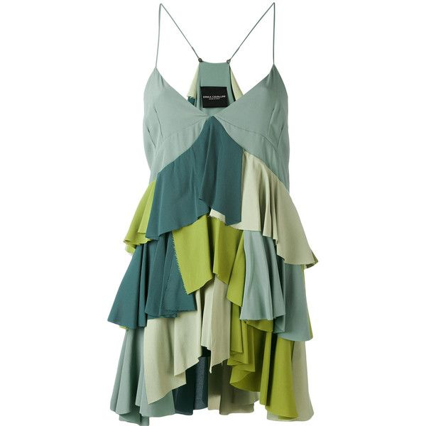 Erika Cavallini ruffled cami top ($720) ❤ liked on Polyvore featuring tops, green, camisole tops, cami top, camisole tank top, green top and flutter-sleeve top