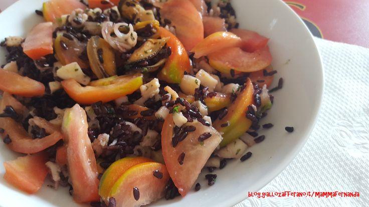 Insalata di riso venere al sapore di mare