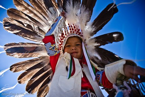 """Bryson """"Taze"""" Rogers waits for the parade to start at the Crow Fair pow wow in Crow Agency, Mont. (Photo by Adam Sings In The Timber)"""