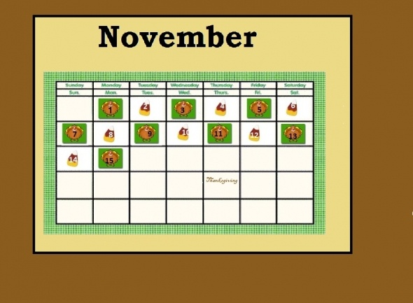 November Calendar Bulletin Board Ideas : November calendar bulletin board pattern turkey themed