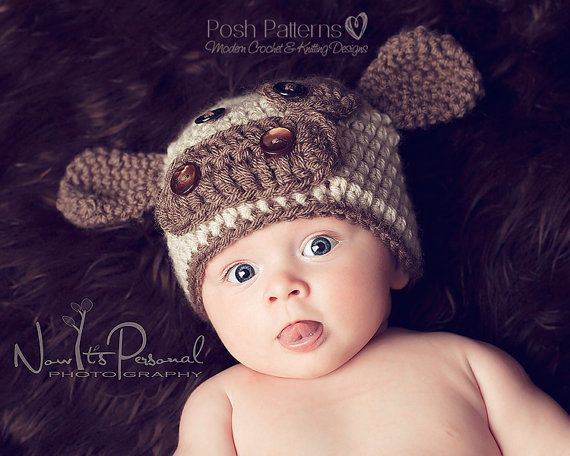 Crochet+Hat+PATTERN++Baby+Cow+Hat+Crochet+Pattern++by+PoshPatterns,+$3.99