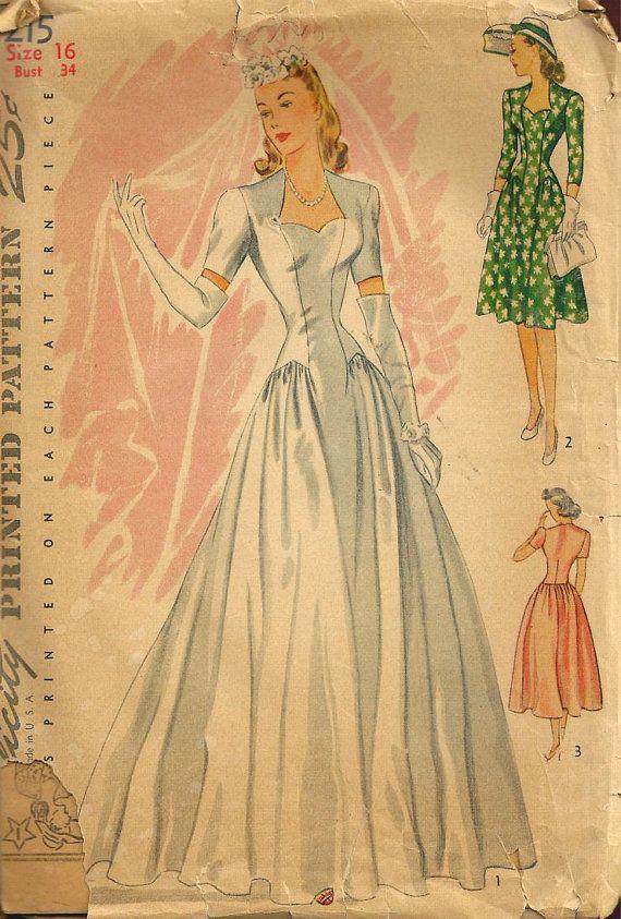 UNCUT  Wedding Dress Vintage Simplicity Pattern by SewReallyCute, $100.00
