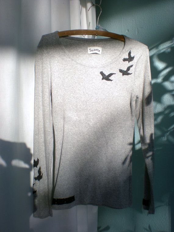Divergent Raven Upcycled gray Tris Shirt by Suzetteupcycled - I really like how it crosses the Abnegation and Dauntless parts of Tris